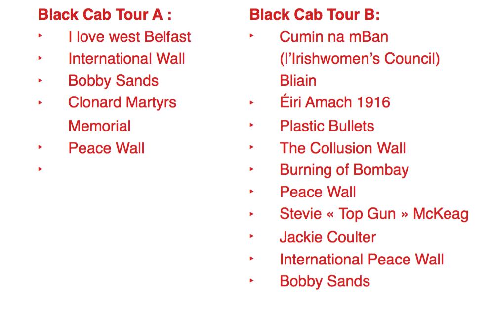 Liste des fresques observA�es lors des tours en Black Cab respectifs.